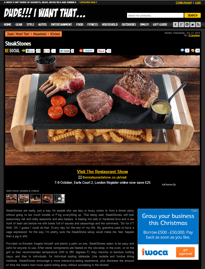 SteakStones featured in Dude!!! I Want That